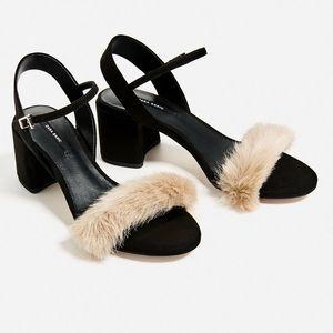 Zara Faux Fur Sandals